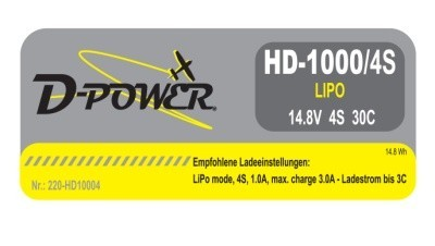 D-Power HD-1000 4S Lipo (14,8V) 30C mit T-Stecker