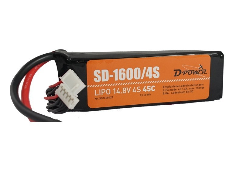 D-Power SD-1600 4S Lipo (14,8V) 45C - mit T-Stecker