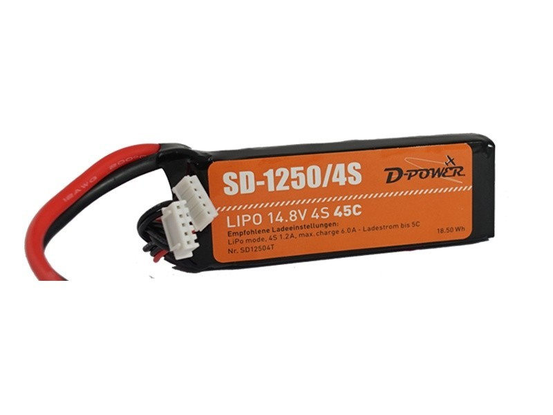D-Power SD-1250 4S Lipo (14,8V) 45C - mit XT-60 Stecker