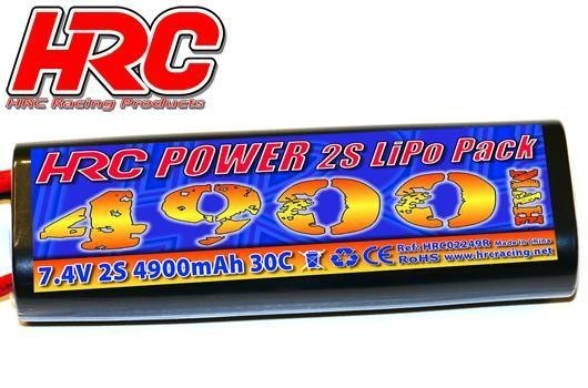 LiPo 2S - 7.4V 4900mAh 30C - RC Car  Rounded Hard Case - Tamiya (Dean's) Stecker