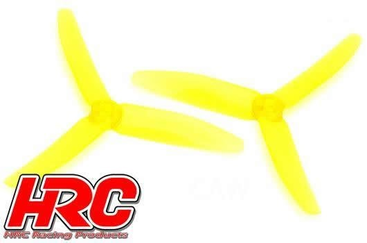 FPV Racing Propellers - 3-blades - PC Material - 5040 Type - ID M5 / 7mm Hub - 2x CW + 2x CCW - Clear Yellow